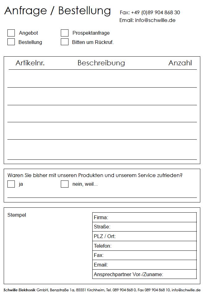 Anfrageformular